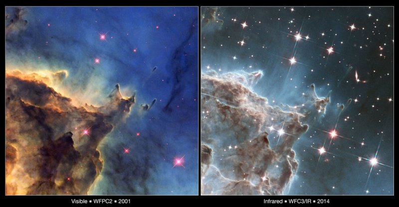 Optical versus infrared view of the cosmos